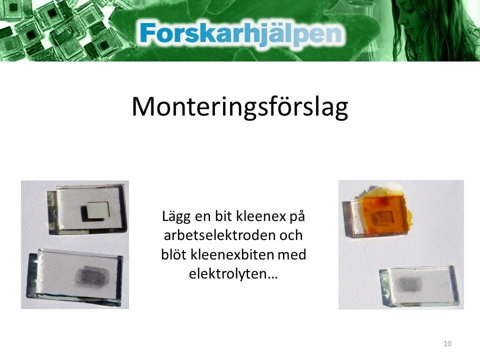 Monteringsförslag Lägg en bit kleenex på arbetselektroden och blöt kleenexbiten med elektrolyten…
