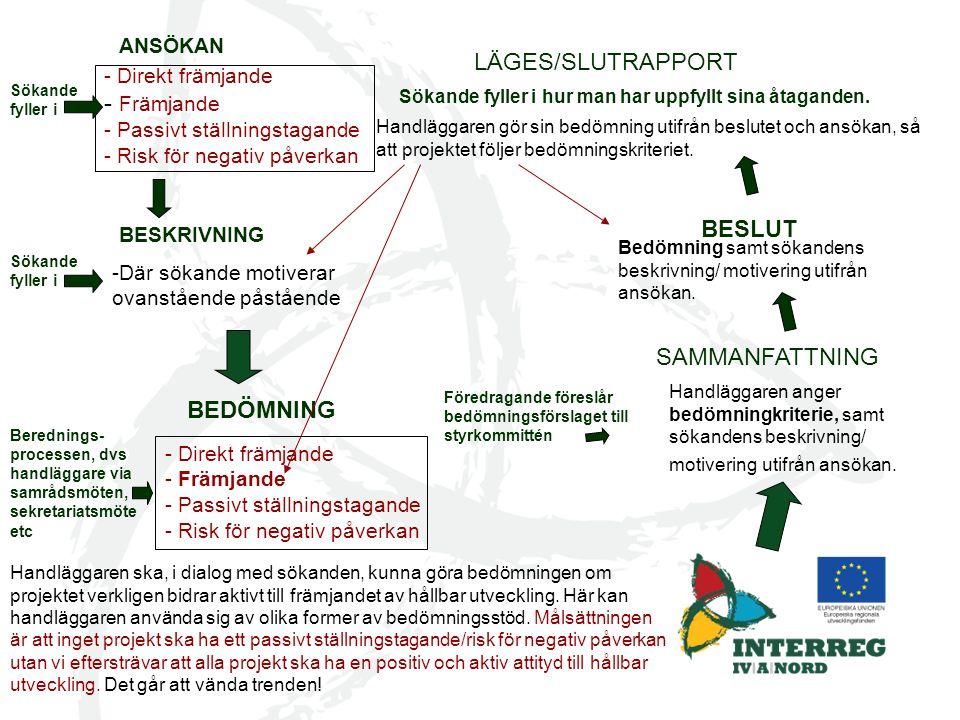 LÄGES/SLUTRAPPORT Främjande BESLUT SAMMANFATTNING BEDÖMNING ANSÖKAN