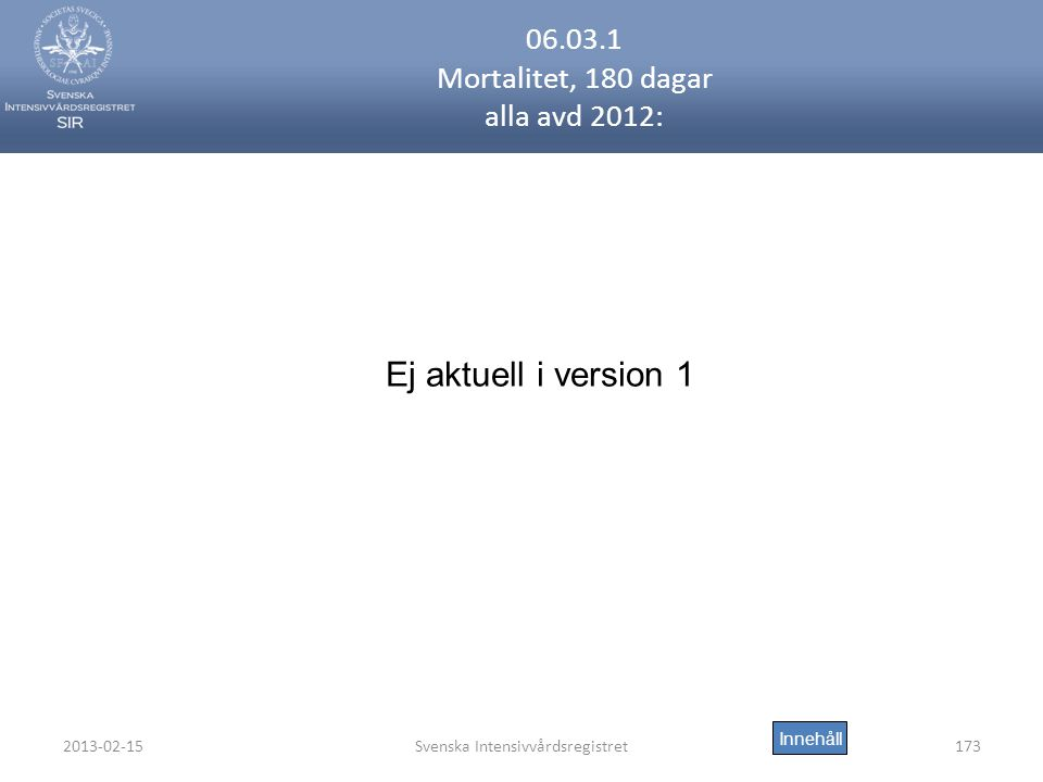 06.03.1 Mortalitet, 180 dagar alla avd 2012: