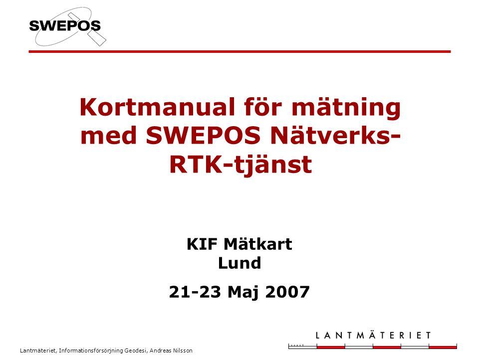 Kortmanual för mätning med SWEPOS Nätverks-RTK-tjänst
