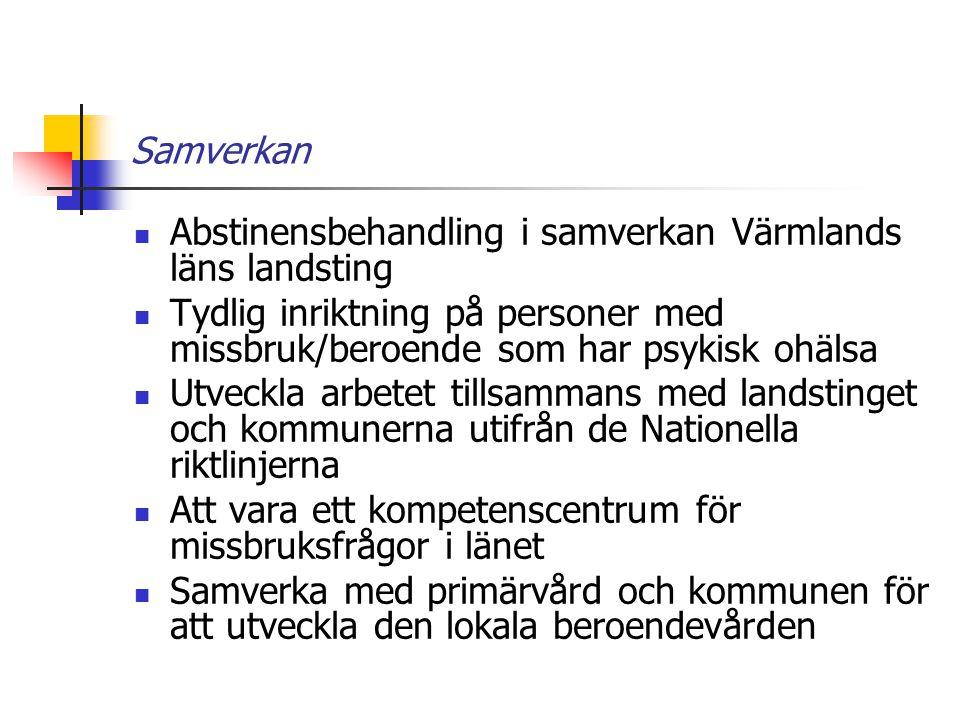 Samverkan Abstinensbehandling i samverkan Värmlands läns landsting. Tydlig inriktning på personer med missbruk/beroende som har psykisk ohälsa.