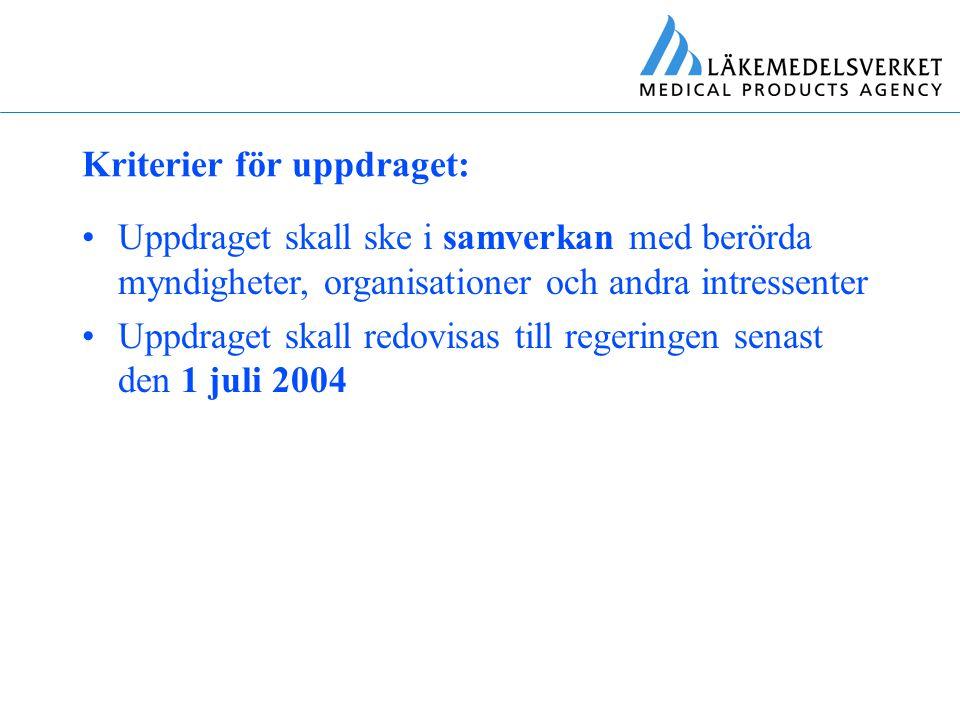Uppdraget skall redovisas till regeringen senast den 1 juli 2004