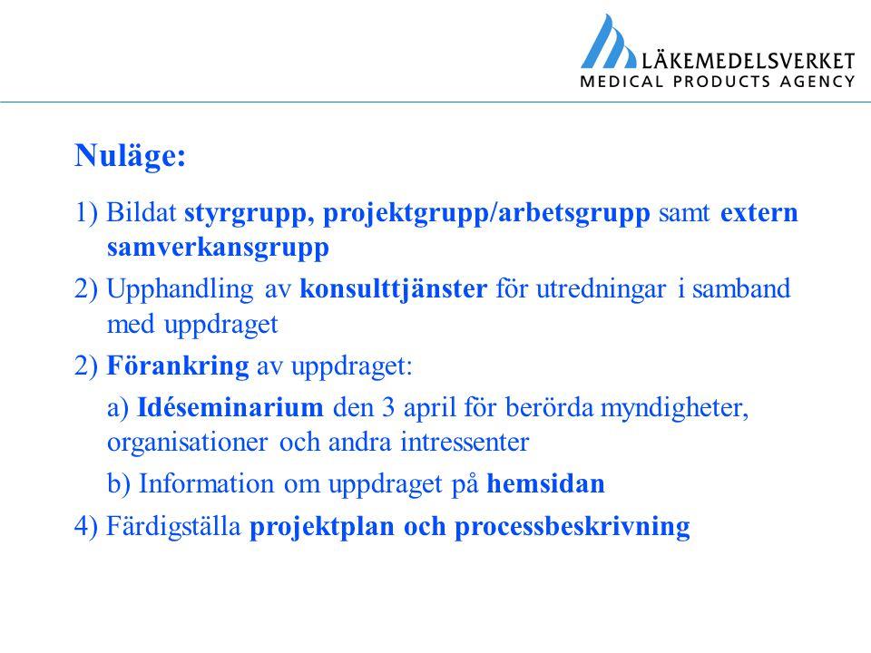 Nuläge: 1) Bildat styrgrupp, projektgrupp/arbetsgrupp samt extern samverkansgrupp.