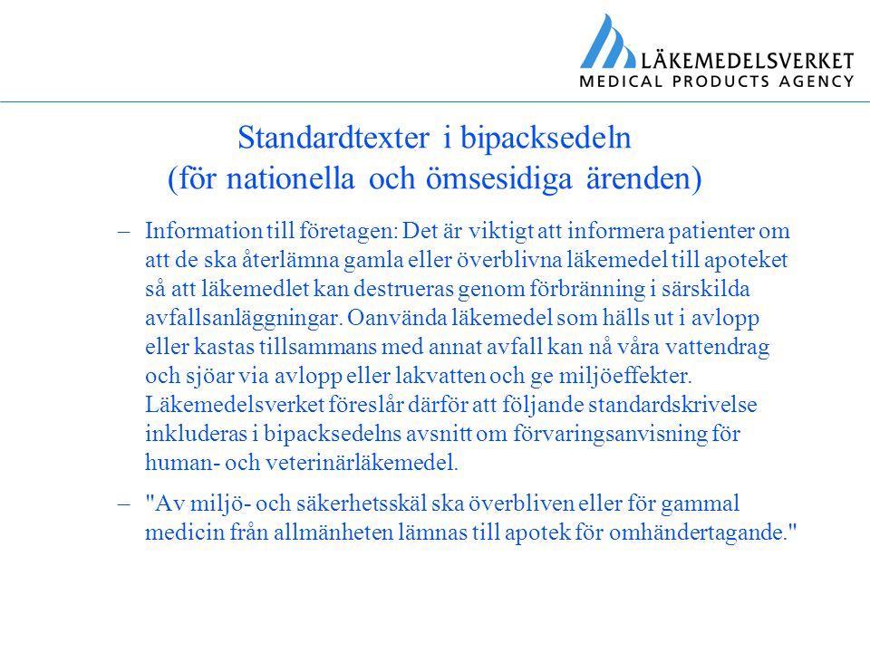 Standardtexter i bipacksedeln (för nationella och ömsesidiga ärenden)
