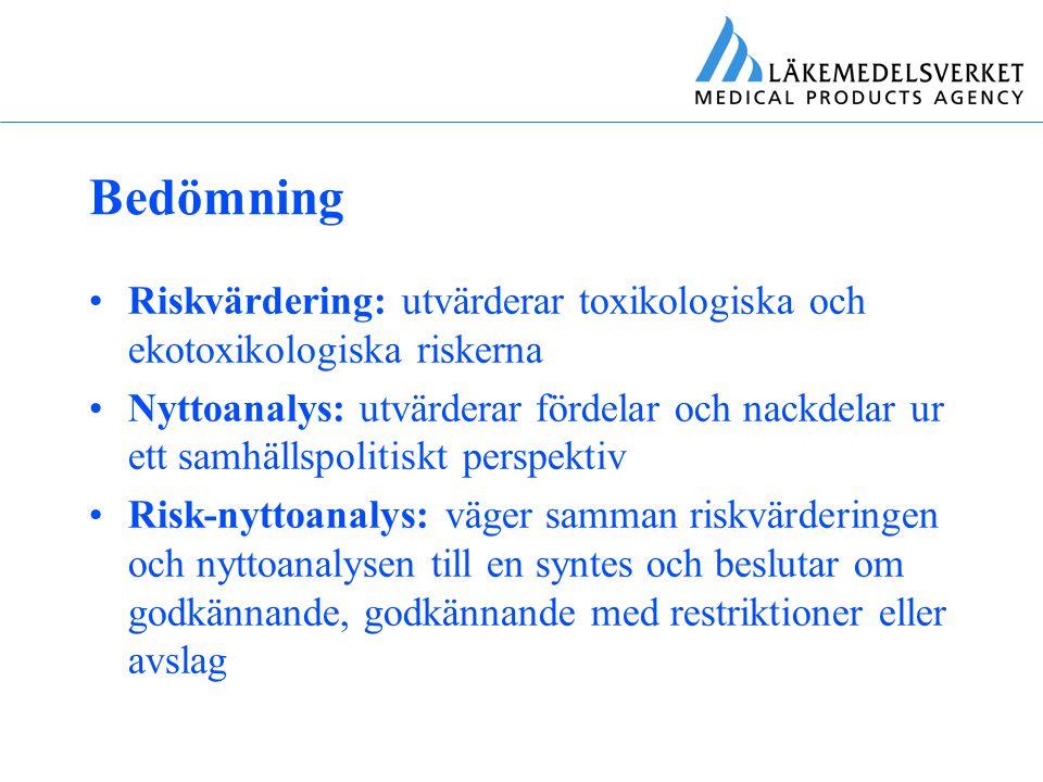 Bedömning Riskvärdering: utvärderar toxikologiska och ekotoxikologiska riskerna.