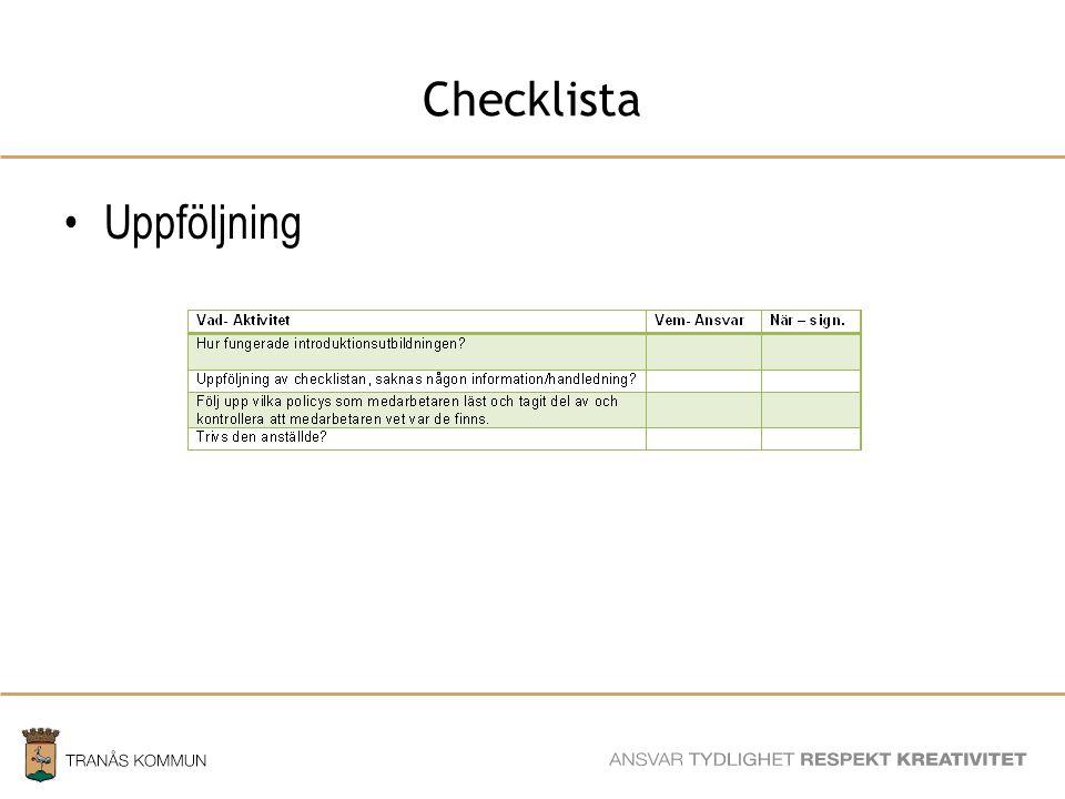 Checklista Uppföljning