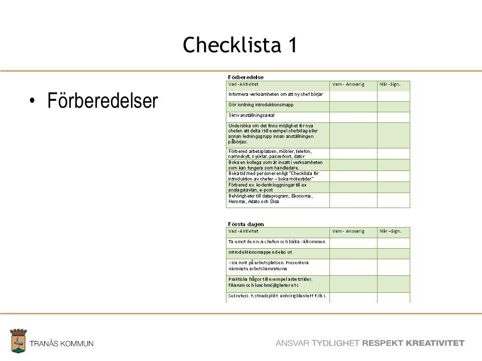 Checklista 1 Förberedelser