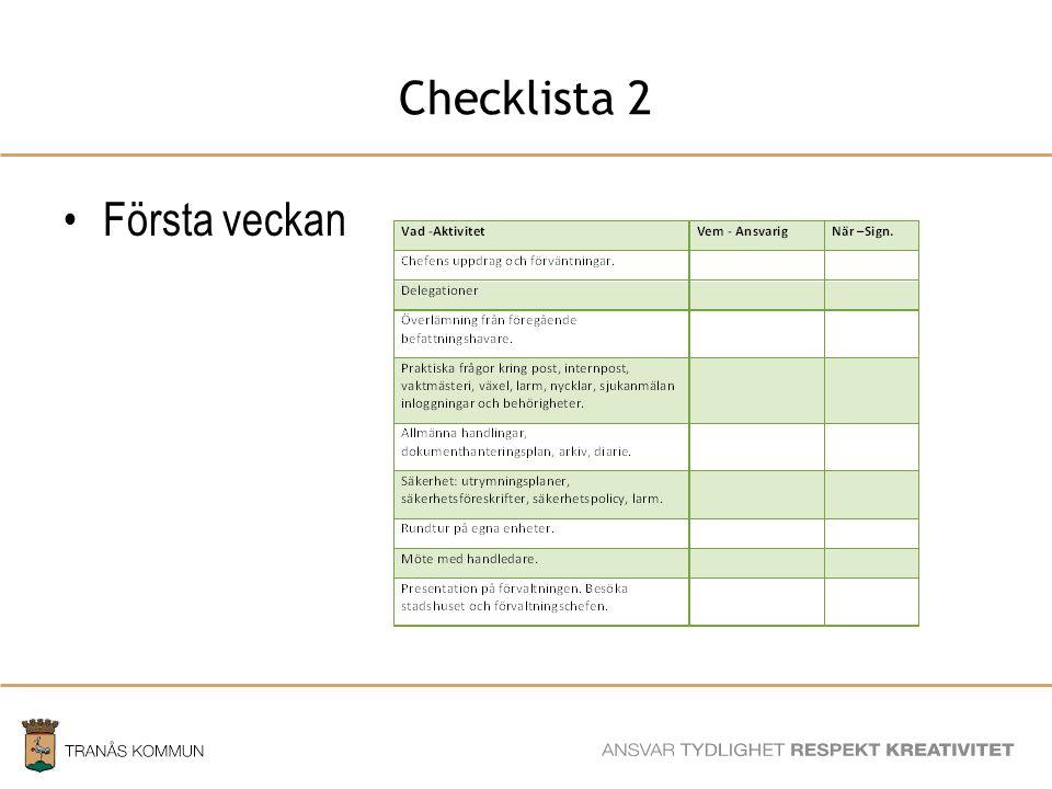 Checklista 2 Första veckan