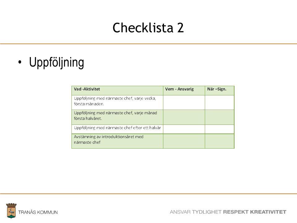 Checklista 2 Uppföljning