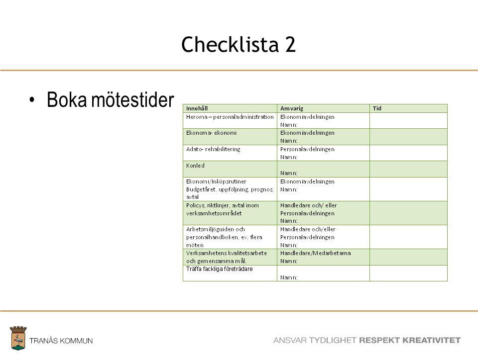 Checklista 2 Boka mötestider