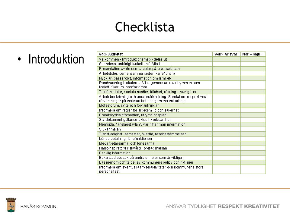 Checklista Introduktion