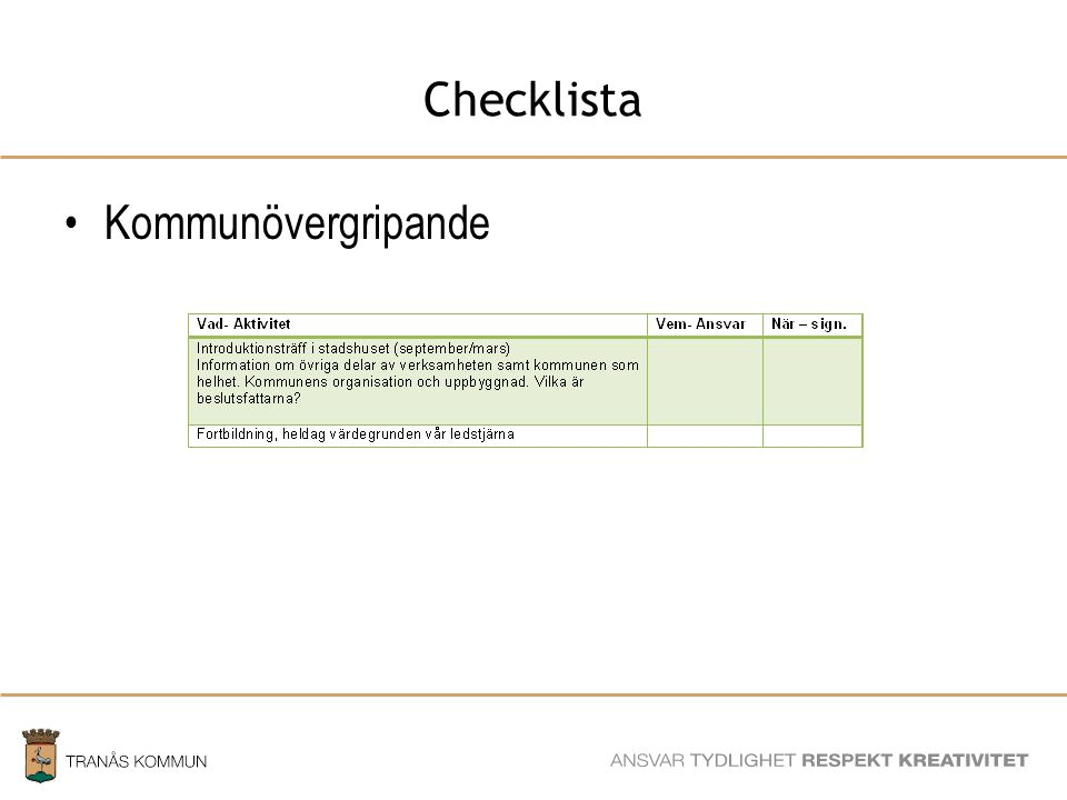 Checklista Kommunövergripande