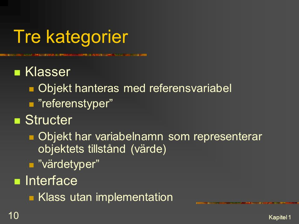 Tre kategorier Klasser Structer Interface