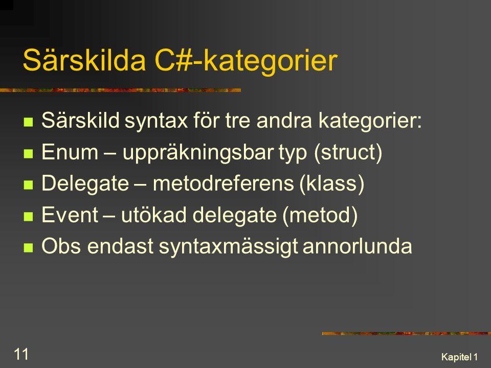 Särskilda C#-kategorier