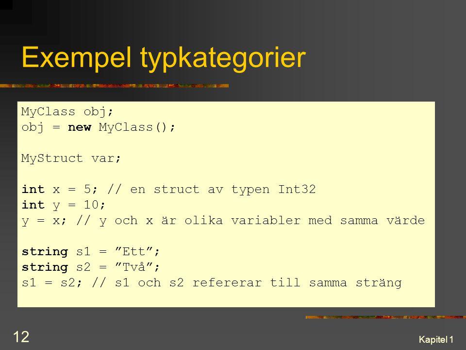 Exempel typkategorier