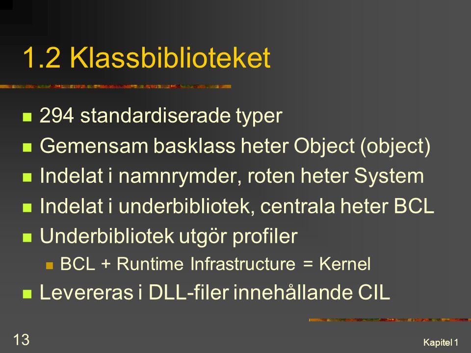 1.2 Klassbiblioteket 294 standardiserade typer