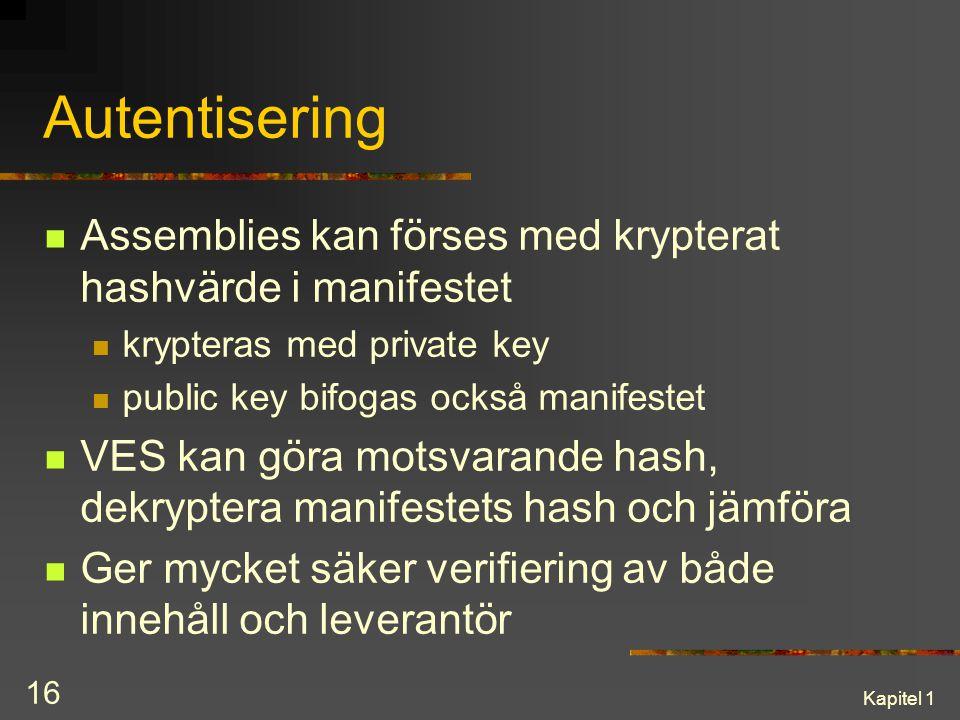 Autentisering Assemblies kan förses med krypterat hashvärde i manifestet. krypteras med private key.