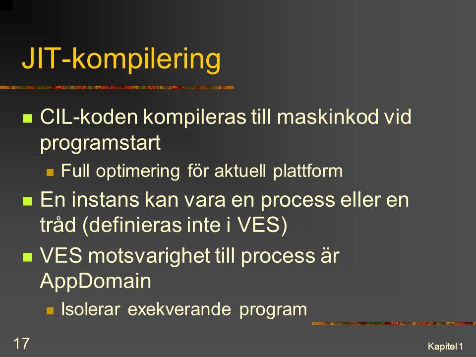 JIT-kompilering CIL-koden kompileras till maskinkod vid programstart