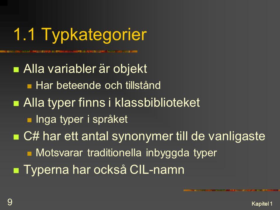 1.1 Typkategorier Alla variabler är objekt