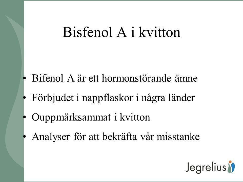 Bisfenol A i kvitton Bifenol A är ett hormonstörande ämne