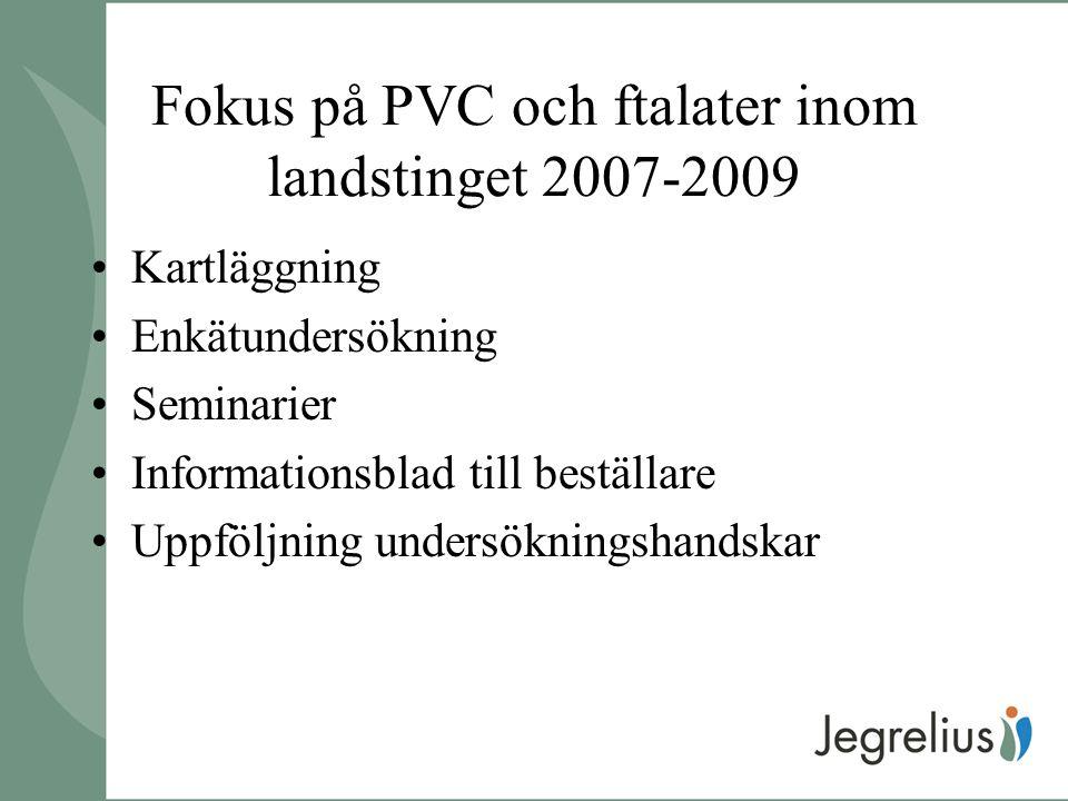Fokus på PVC och ftalater inom landstinget 2007-2009