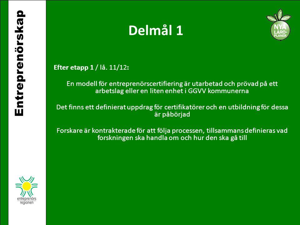 Delmål 1 Entreprenörskap Efter etapp 1 / lå. 11/12: