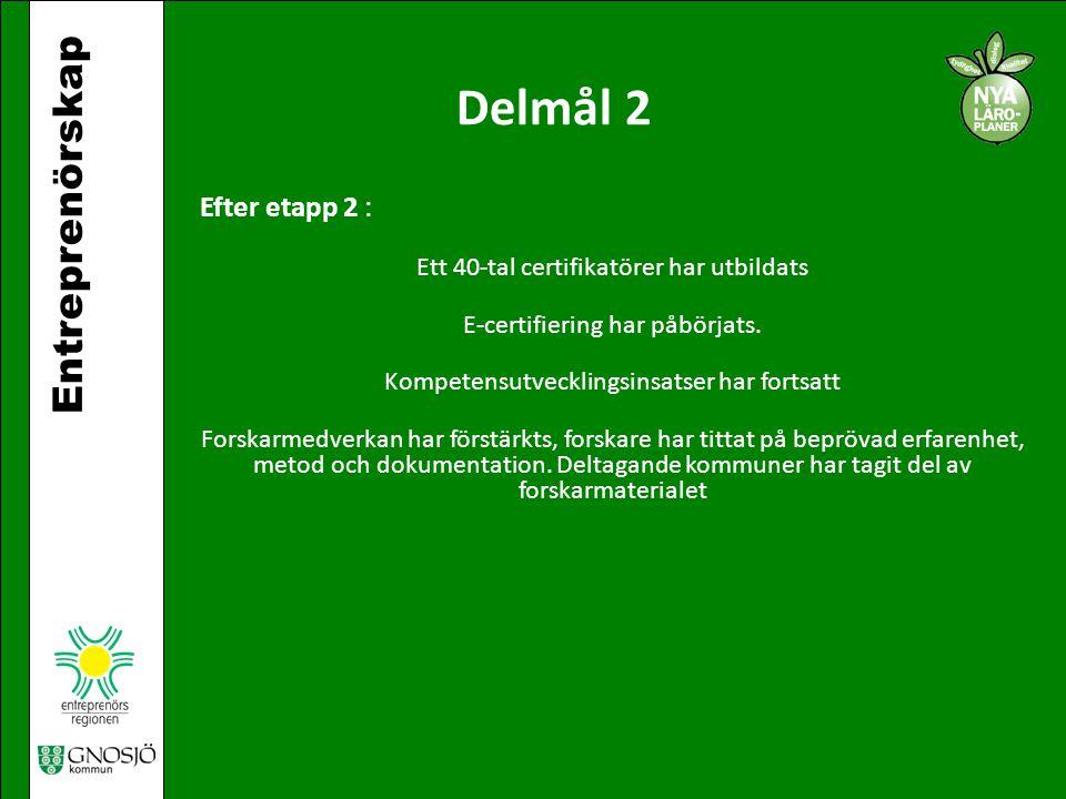 Delmål 2 Entreprenörskap Efter etapp 2 :
