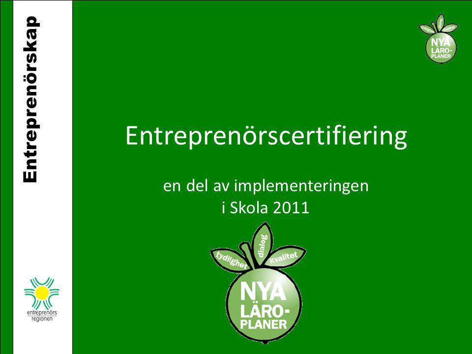 Entreprenörscertifiering en del av implementeringen i Skola 2011