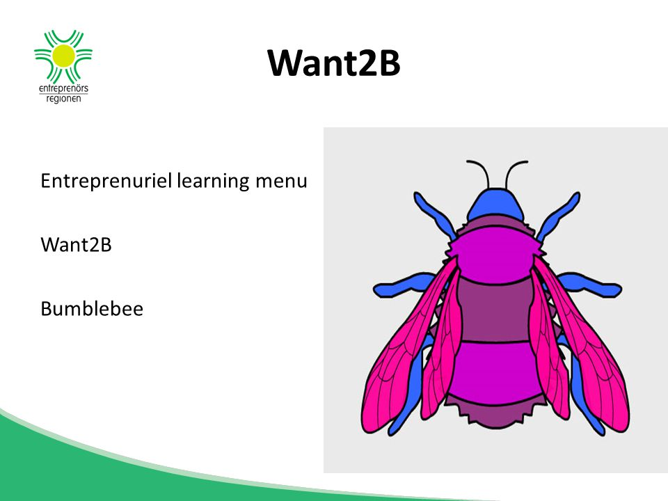 Want2B Entreprenuriel learning menu Want2B Bumblebee