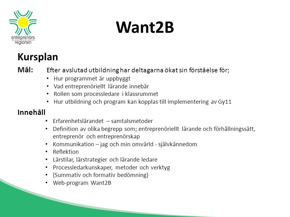 Want2B Kursplan. Mål: Efter avslutad utbildning har deltagarna ökat sin förståelse för; Hur programmet är uppbyggt.