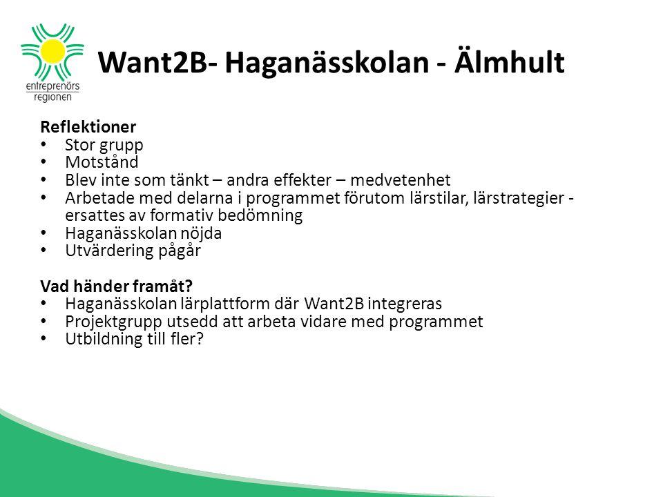 Want2B- Haganässkolan - Älmhult