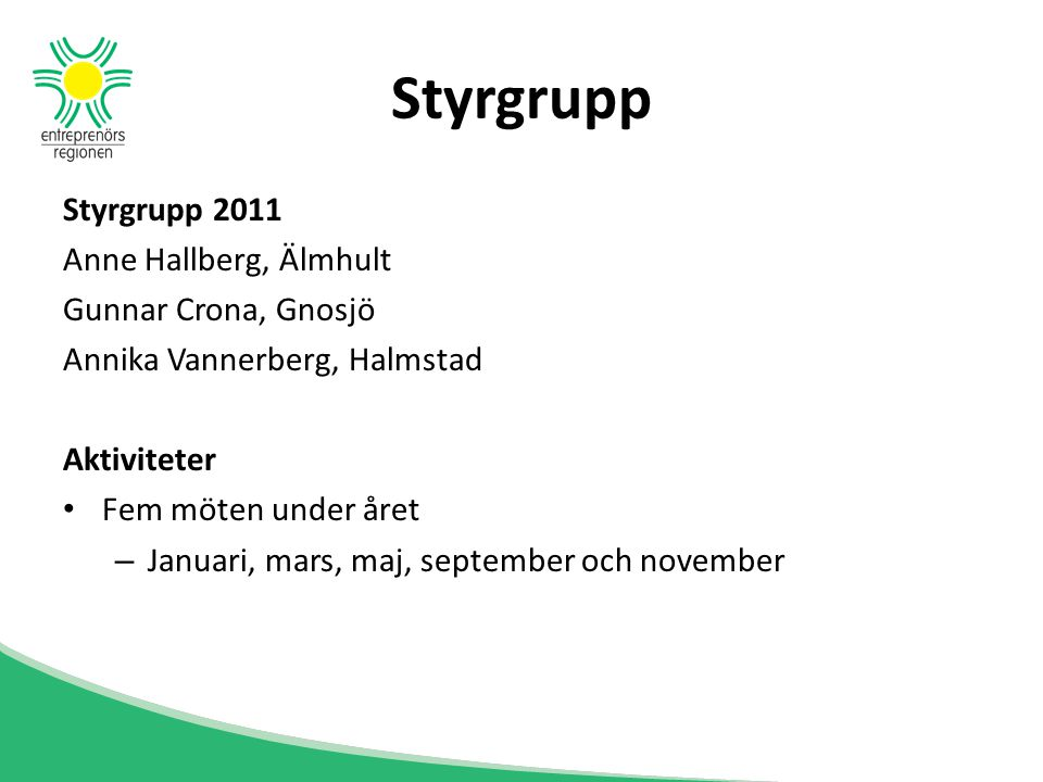 Styrgrupp Styrgrupp 2011 Anne Hallberg, Älmhult Gunnar Crona, Gnosjö