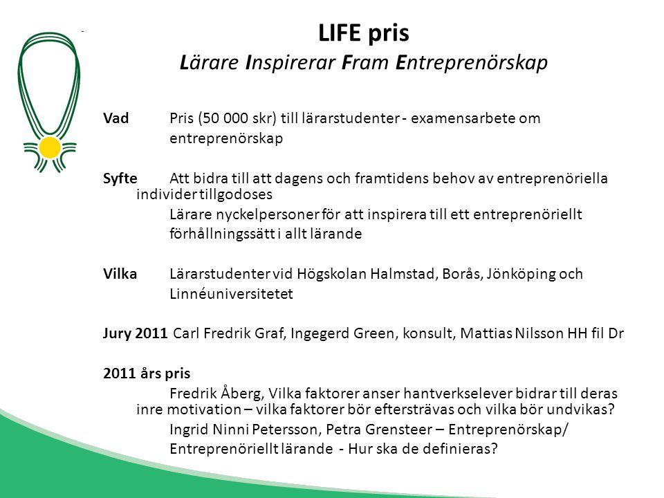 LIFE pris Lärare Inspirerar Fram Entreprenörskap
