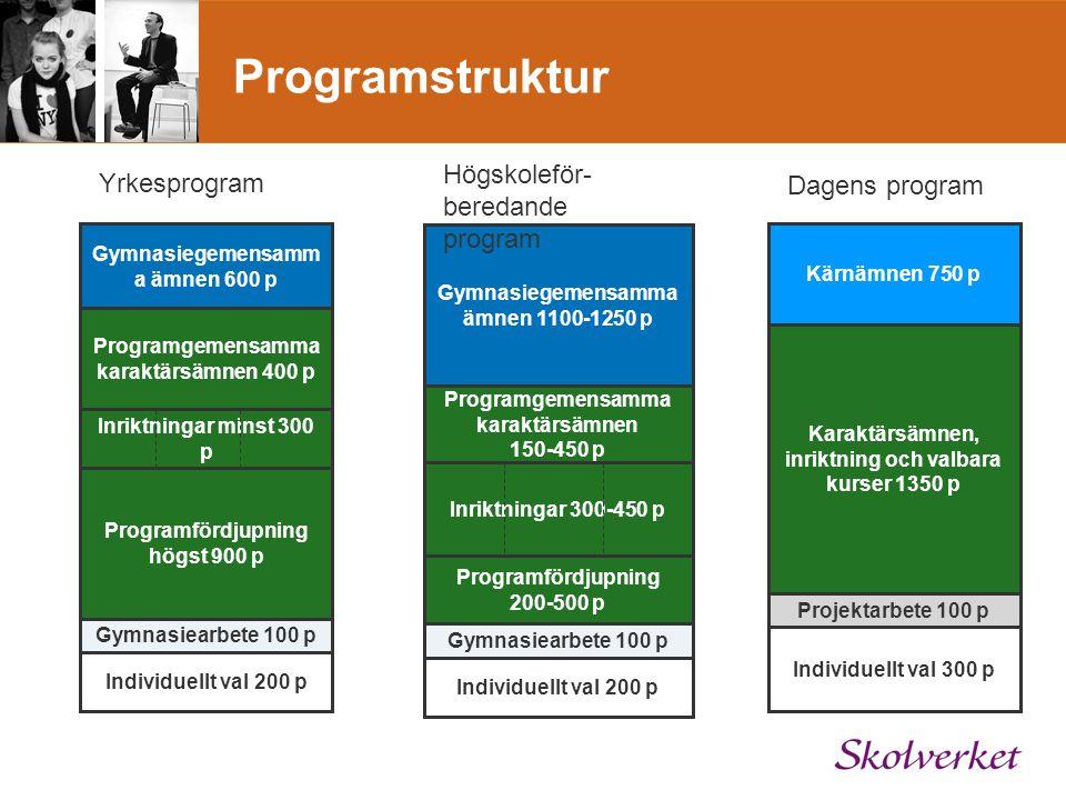 Programstruktur Högskoleför- beredande program Yrkesprogram
