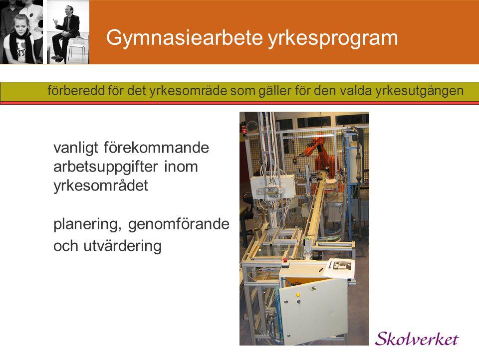 Gymnasiearbete yrkesprogram