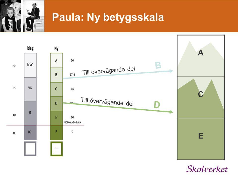 Paula: Ny betygsskala A C E Till övervägande del B