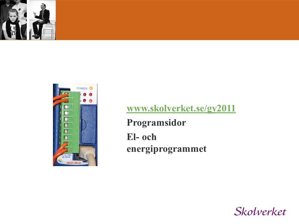 www.skolverket.se/gy2011 Programsidor El- och energiprogrammet