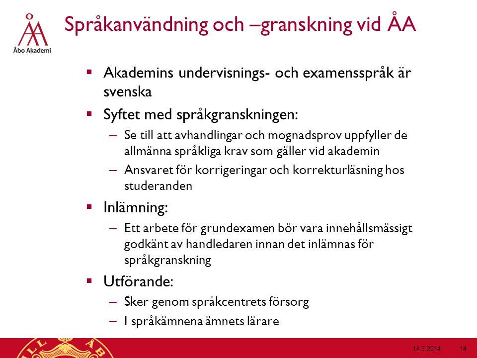 Språkanvändning och –granskning vid ÅA