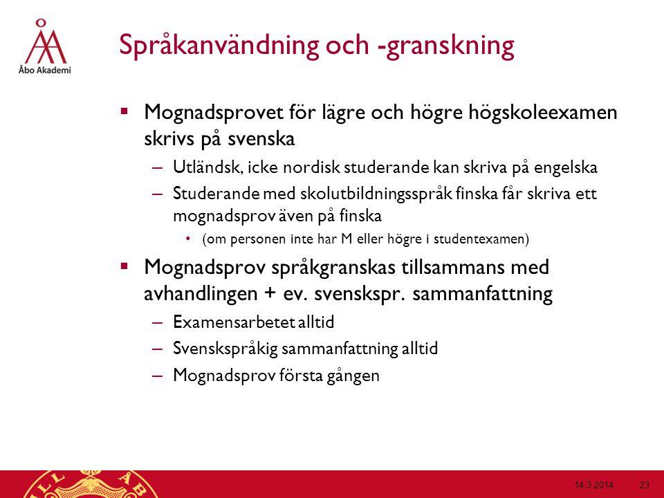 Språkanvändning och -granskning