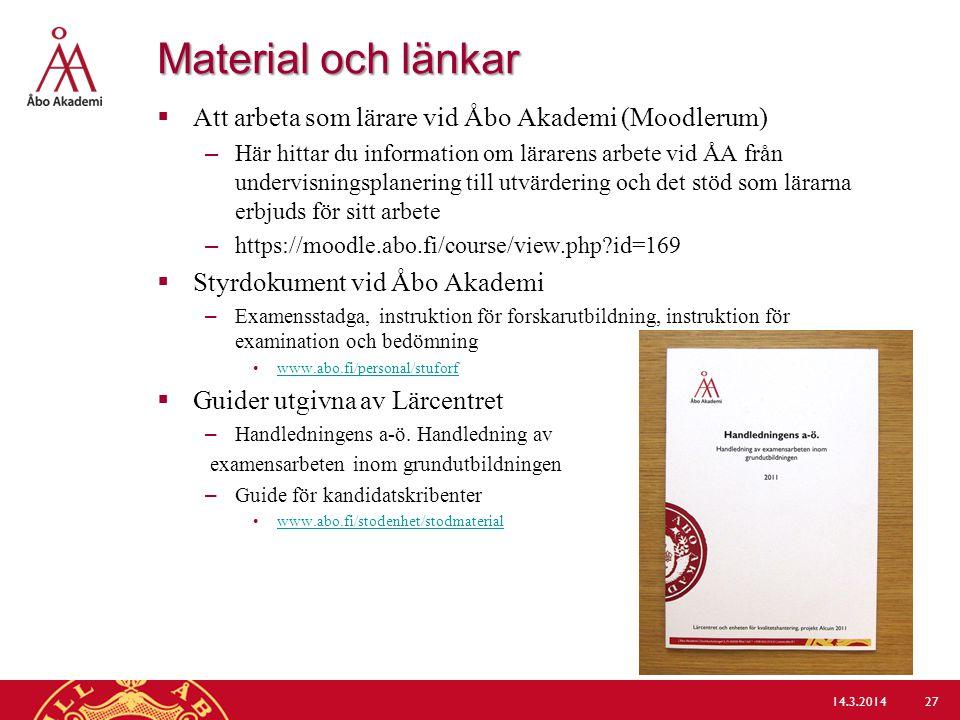 Material och länkar Att arbeta som lärare vid Åbo Akademi (Moodlerum)