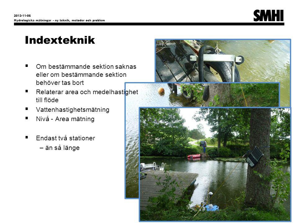 2013-11-06 Hydrologiska mätningar – ny teknik, metoder och problem. Indexteknik.