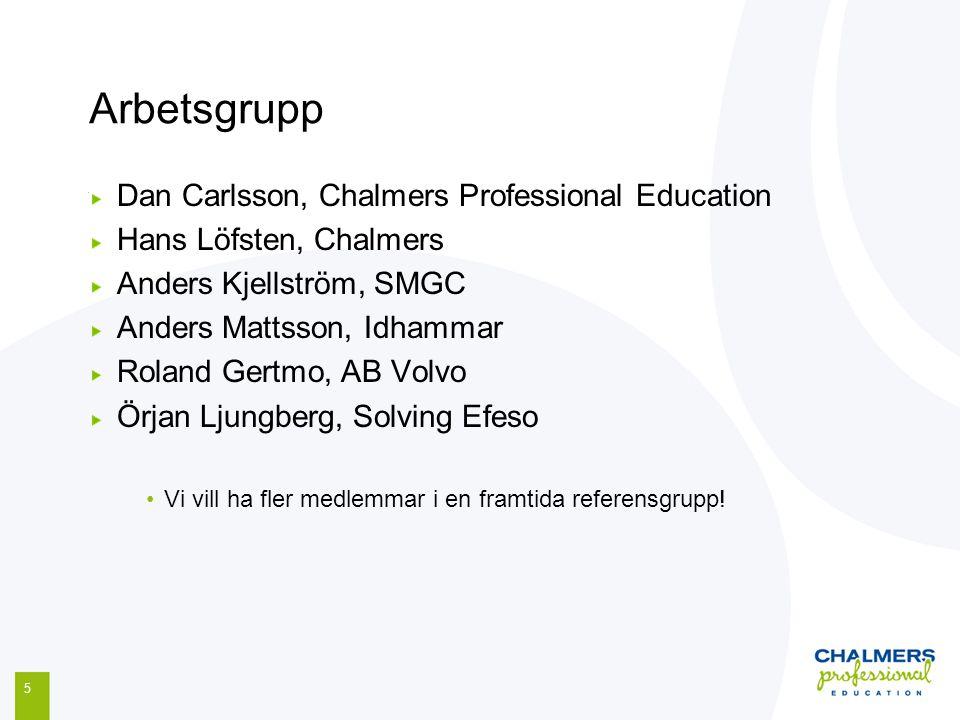 Arbetsgrupp Dan Carlsson, Chalmers Professional Education