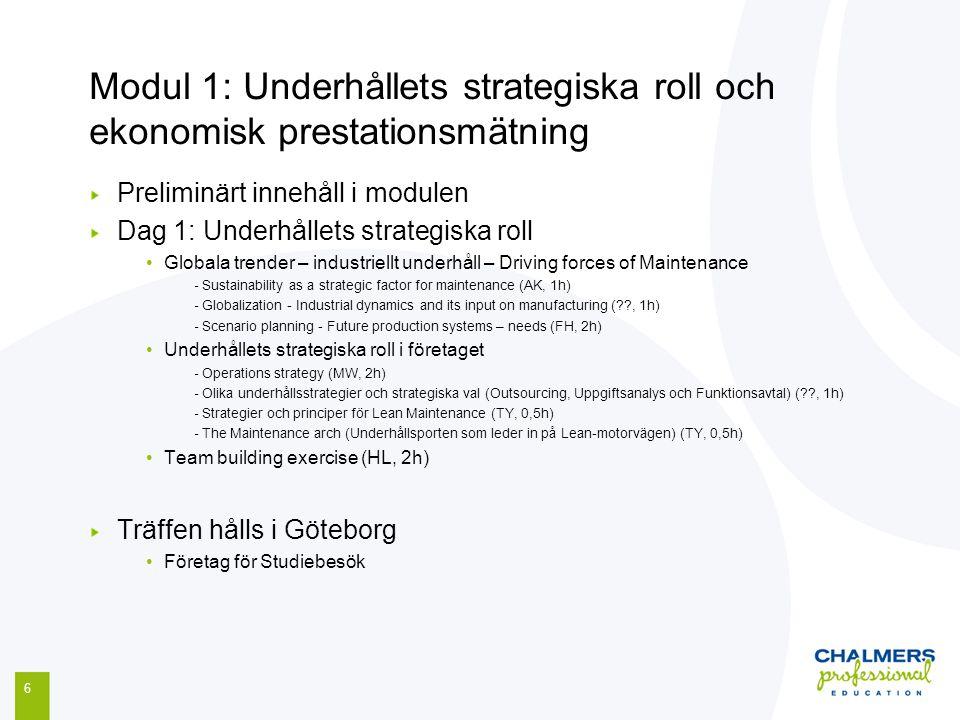 Modul 1: Underhållets strategiska roll och ekonomisk prestationsmätning