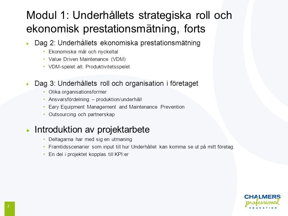 Modul 1: Underhållets strategiska roll och ekonomisk prestationsmätning, forts