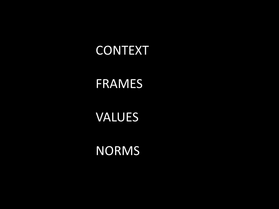 CONTEXT FRAMES VALUES NORMS