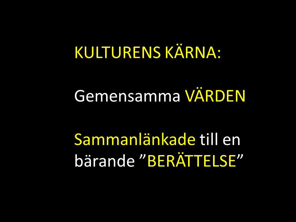 KULTURENS KÄRNA: Gemensamma VÄRDEN Sammanlänkade till en bärande BERÄTTELSE