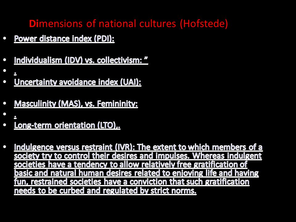 Dimensions of national cultures (Hofstede)