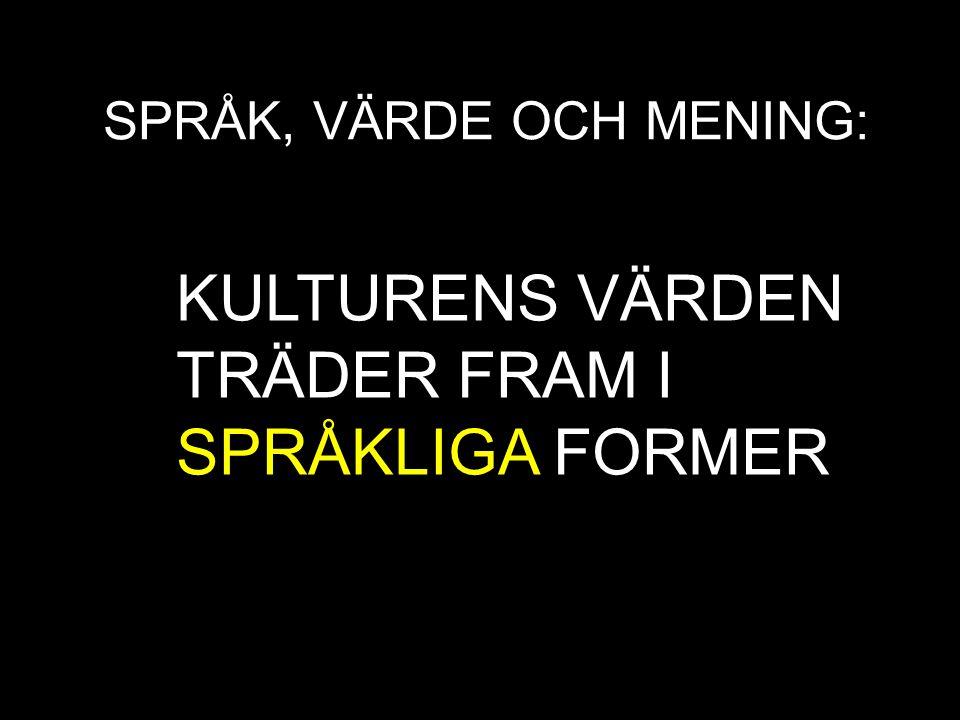 KULTURENS VÄRDEN TRÄDER FRAM I SPRÅKLIGA FORMER