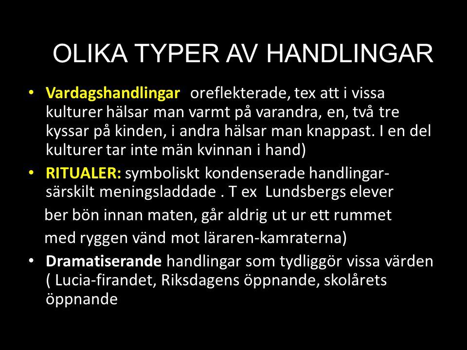 OLIKA TYPER AV HANDLINGAR