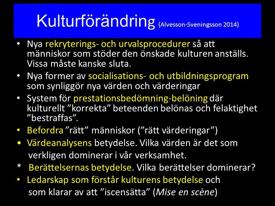 Kulturförändring (Alvesson-Sveningsson 2014)
